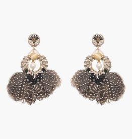 Ranjana Khan Carambola Feather and Crystal Earrings