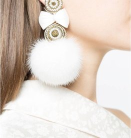Ranjana Khan White Fur Metallic ball