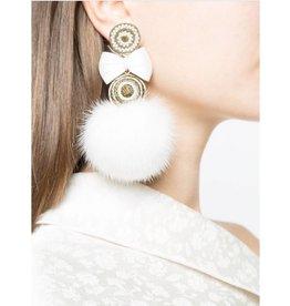 Ranjana Khan White Fur Metallic ball