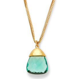 Julie Vos Savannah Pendant Gold Aquamarine Blue