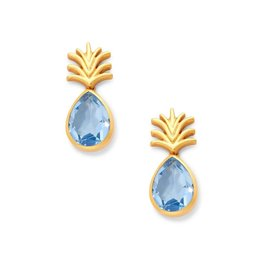 Julie Vos Pineapple Earring Gold Clear Chalcedony Blue
