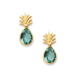 Julie Vos Pineapple Earring Gold Aquamarine Blue