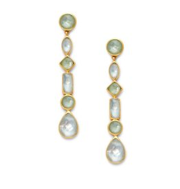 Julie Vos Savannah Statement Earring Gold Iridescent Peridot Green and Clear