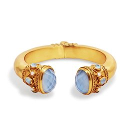 Julie Vos Savannah Hinge Cuff Gold Iridescent Chalcedony and Pearl accents