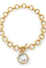 Julie Vos Honeybee Necklace Gold Iridescent Clear Crystal