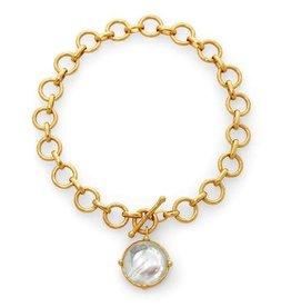 Julie Vos Honeybee Necklace Gold Iridescent Clear Crystal