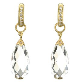 Jude Frances 18K Yellow Gold White Topaz Long Briolette Charms