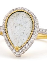 Jude Frances Provence Pave Halo Pear Stone Trio Ring Labradorite