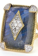 Jude Frances Large Lisse Cushion Stone Pave Kite Ring