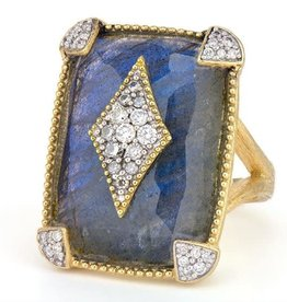 Jude Frances Large Lisse Cushion Stone Pave Kite Ring