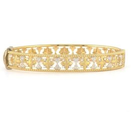 Jude Frances Open Moroccan Brushed Flower Bangle