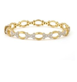 Jude Frances Provence Open Marquis Bangle with Diamond Trios