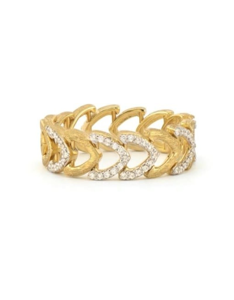 Jude Frances Lisse Continuous Open Shield Pave & Brushed Band