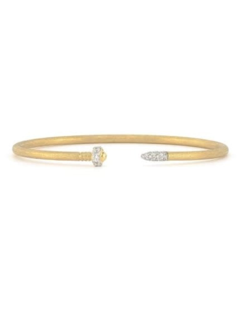 Jude Frances Lisse Diamond Nail Head Flexible Brushed Bangle