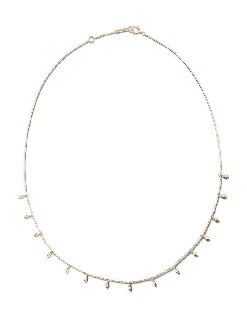 Mizuki 14K Gold Sparkle Bead Fringe Necklace
