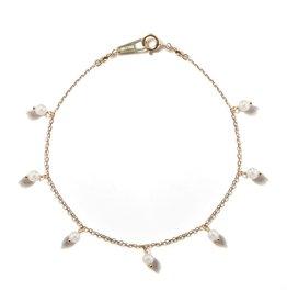 Mizuki 14k White Akoya Pearl Fringe Bracelet
