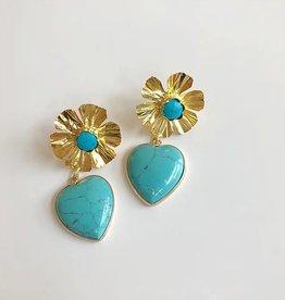 Nicola Bathie Golden flower + heart Earrings