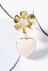 Nicola Bathie Golden flower + rose quartz heart
