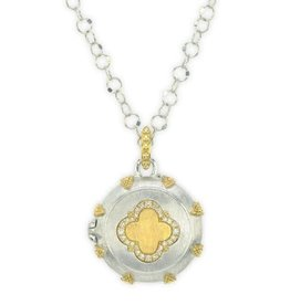 Jude Frances Mixed Metal Clover Locket With Gold Accents