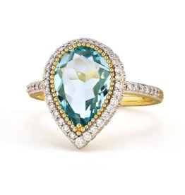 Jude Frances Provence Pave Halo Pear Blue Topaz Trio Ring