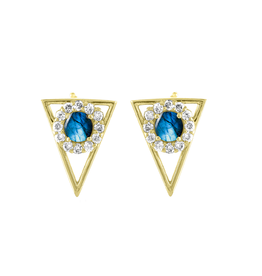 Eden Presley 14K Sapphire & Diamond Triangle Stud