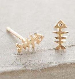 14k Bone Fish Single Stud Earring
