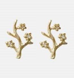 14k Branch Single Stud Earring