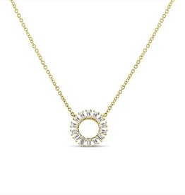 J.Luu Baguette Diamond Circle Necklace Yellow Gold