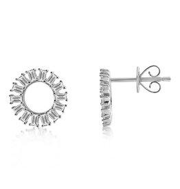 J.Luu Baguette Diamond Circle Earrings White Gold