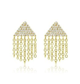 J.Luu Diamond Triangle Fringe Earrings Yellow Gold