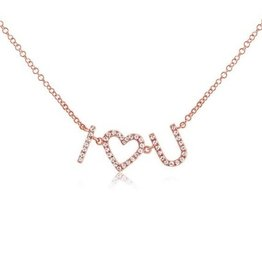 J.Luu I Heart U Diamond Necklace Rose Gold