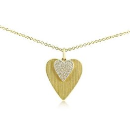 J.Luu Diamond Double Heart Necklace Yellow Gold