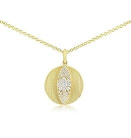 J.Luu Diamond Evil Eye Disc Necklace Yellow Gold