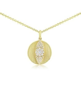 J.Luu Diamond Evil Eye Disc Necklace