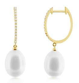 J.Luu Pearl and Diamond Hoop Earrings Yellow Gold