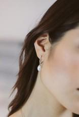 J.Luu Pearl and Diamond Hoop Earrings Yellow Gold