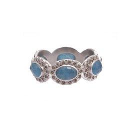 Armenta New World Oval Blue Topaz/Labradorite Doublet Ring