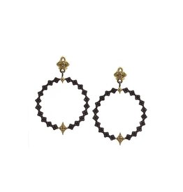Armenta Old World Champagne Diamond Circle Earrings