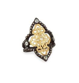 Armenta Old World Diamond & White Sapphire Scroll Ring