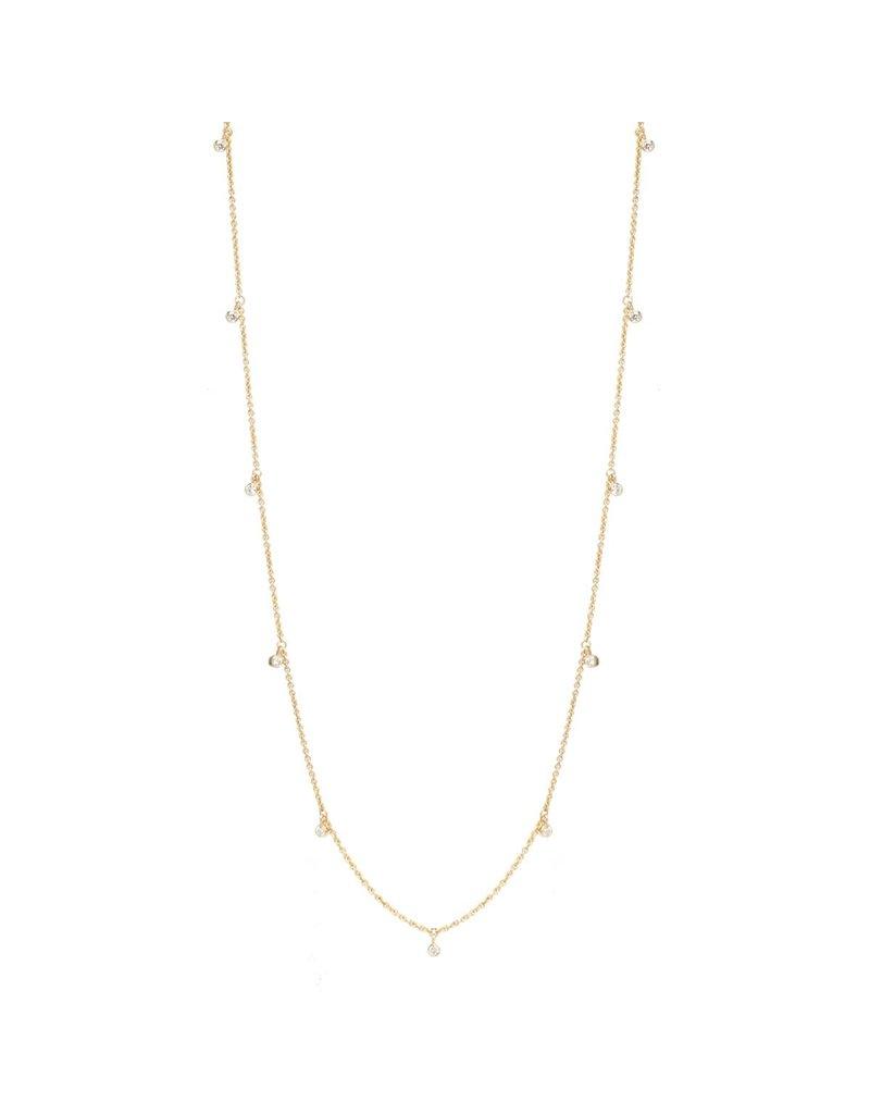 14k Long Dangling Diamond Necklace