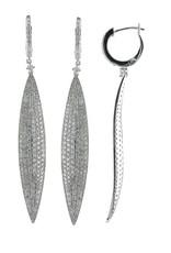 Luvente 14k Pave Diamond Leaf Earrings