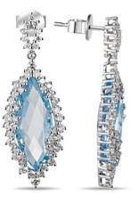 Luvente 14k Marquise Blue Topaz & Diamond Earrings