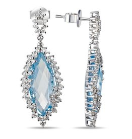 Luvente 14k Marquise Blue Topaz & Diamond Earrings