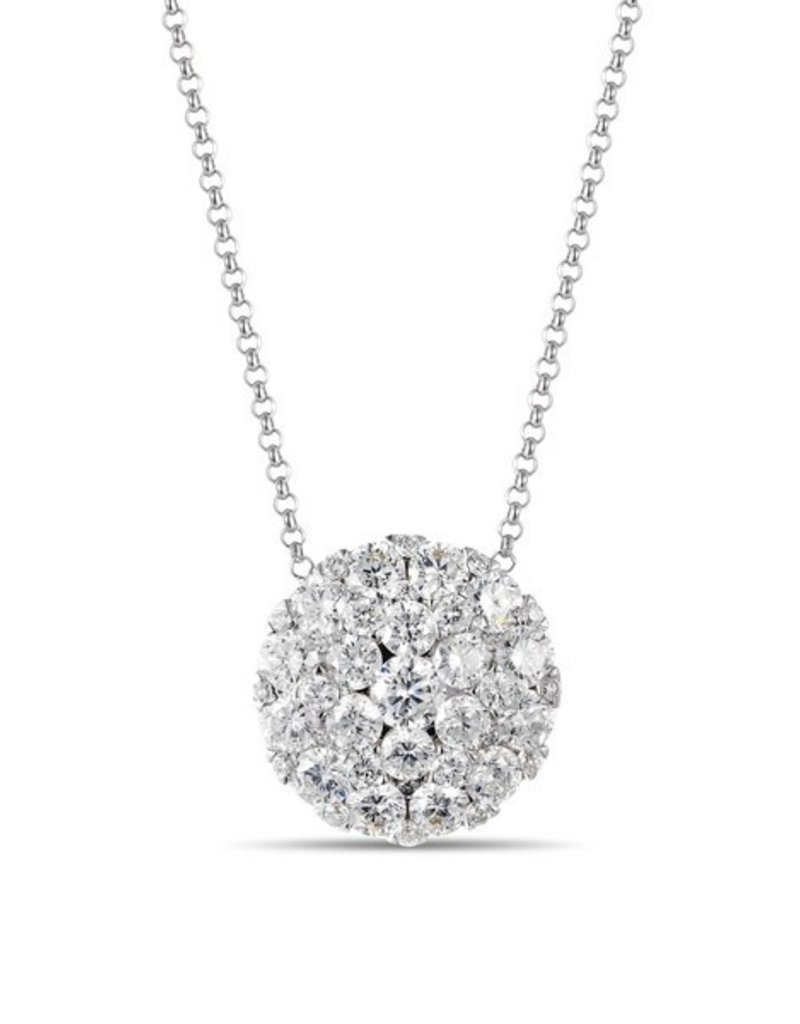 Luvente White Gold Pave Diamond Disc Necklace