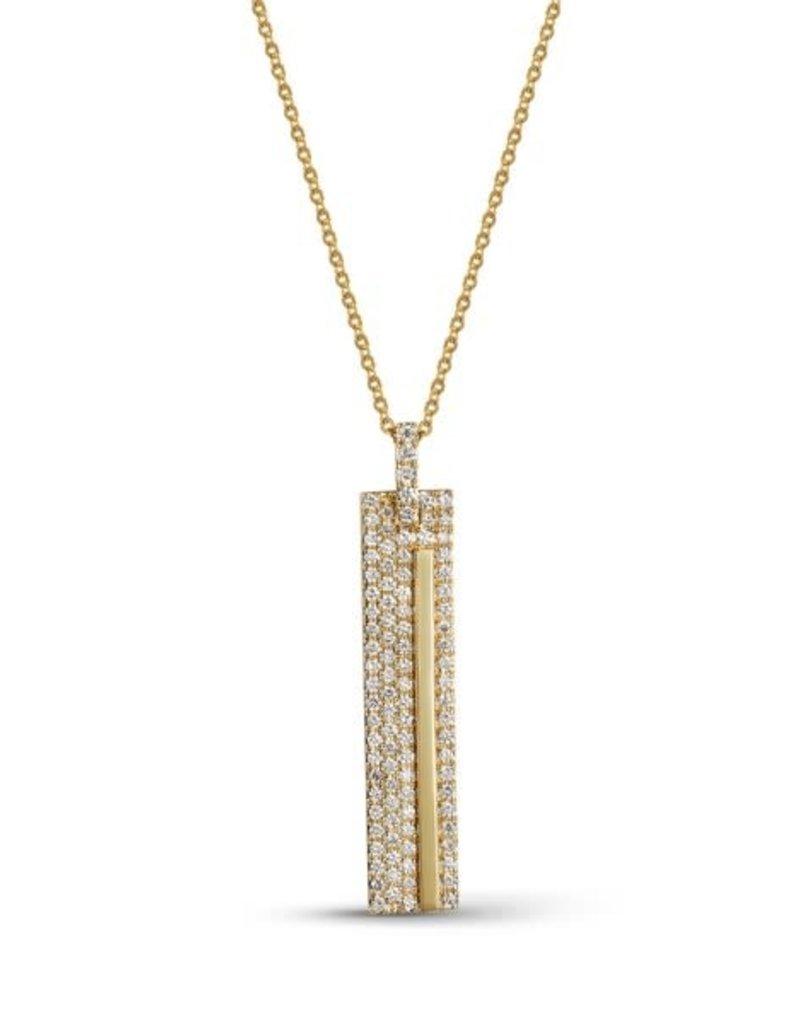 Luvente 14k Pave Diamond Bar Necklace