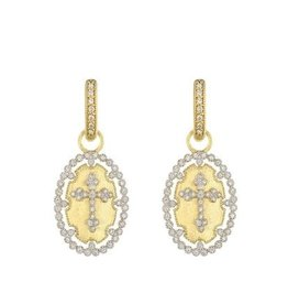Jude Frances Provence Champagne Oval Bezel Cross Earrings