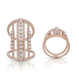 Luvente Rose Gold Deco Style Diamond Ring