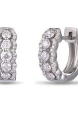 Luvente White Gold Scalloped Diamond Huggies