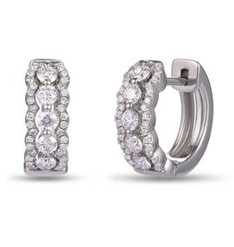 Luvente White Gold Scalloped Diamond Huggies