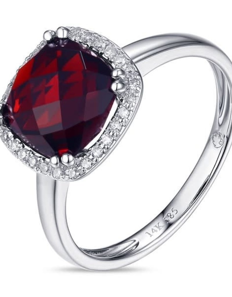 Luvente White Gold Garnet & Diamond Ring